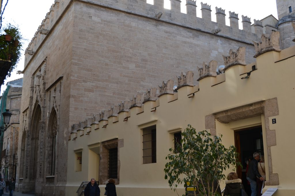 Fachada posterior de La Lonja en Valencia