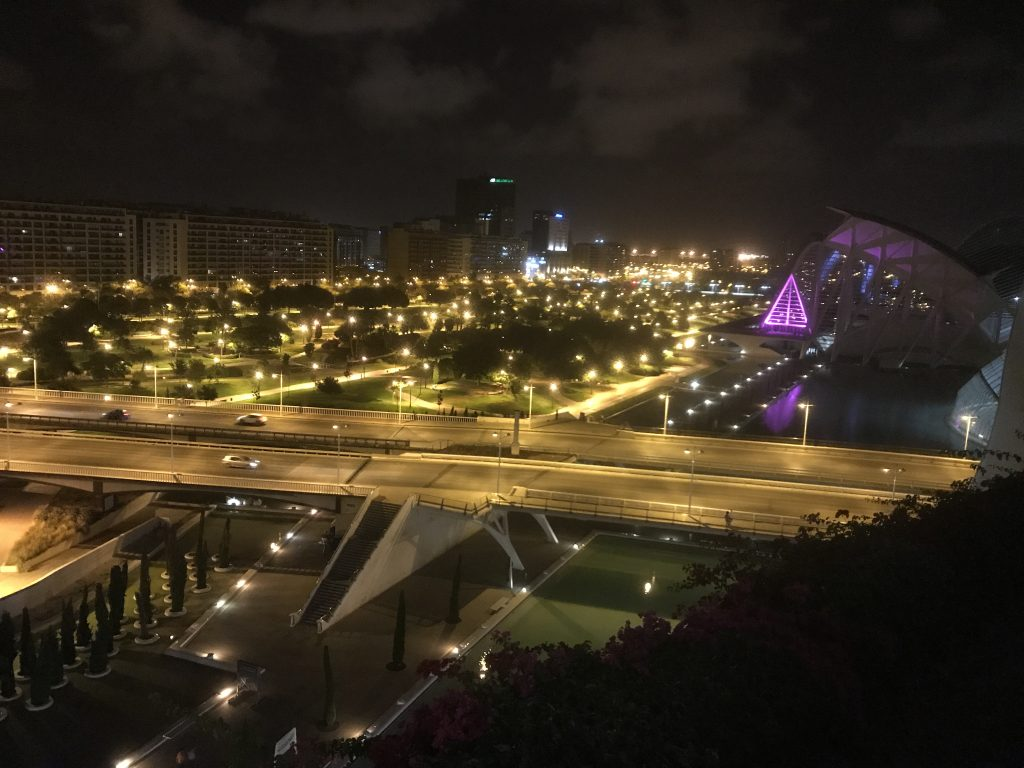 Vista de valencia de noche